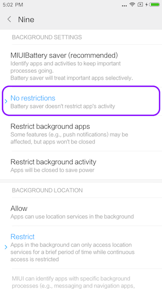 How to turn off background restriction on the Xiaomi devices